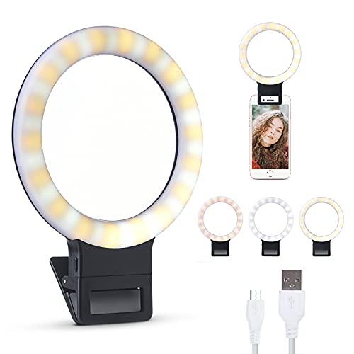 LONGKO Recargable Anillo de luz Selfie 36 LED Iluminación Suplementaria Noche Selfie 400mAh Batería 3 Modos de Luz de Anillo de Clip Regulable para iPhone Teléfono Mmóvil Android Tablet iPad (Blanco)