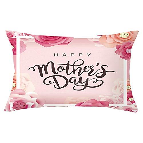 KnBoB Funda de Almohada Rosa Happy Mother's Day con Rose 30 x 50 cm Poliéster Estilo 7