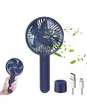 TedGem Ventilator, USB-ventilator, handventilator, kleine pc-ventilator, 2000 mAh, oplaadbare batterij, eenvoudig te dragen, voor kantoor thuis en buiten (3 snelheden) (blauw)