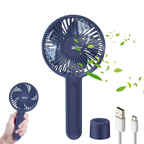 TedGem Ventilator, USB Ventilator Handventilator Ventilator Klein PC Ventilator 2000mAh Aufladbarem Batterie Lüfter USB Fan Einfach zu Tragen, für Büro Zuhause&im Freien(3 Geschwindigkeiten) (Blau)