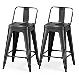 VIPEK 24 Inches Metal Counter Bar Stools Dining Chairs Bar Counter Stools Set of 2 Mid Back Side Chairs 24' Height Barstool Patio Bar Chairs Home Kitchen Dining Stool Bistro Cafe, Matte Black