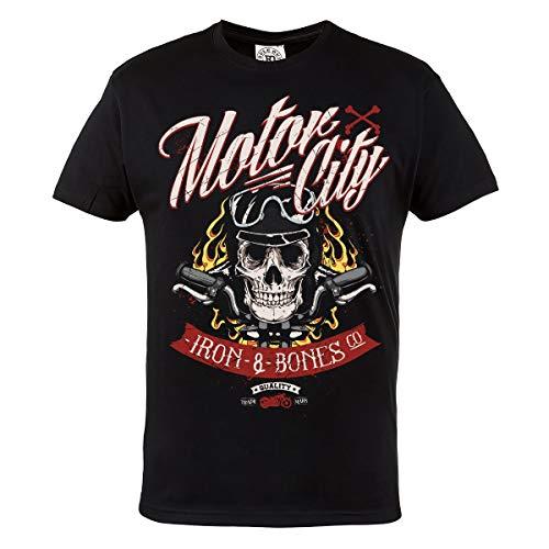 Rule Out Moto Camiseta Motor City Hierro & Huesos Ropa Motera. Motorcycling. Moto Camiseta Informal - Negro, XX-Large