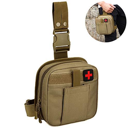 Selighting Bolsa de Pierna Tactica Hombre Bolso de Cintura Ejército Militar Riñonera de Gran Capacidad Cinturón Bolsa MOLLE Médico (Marrón)