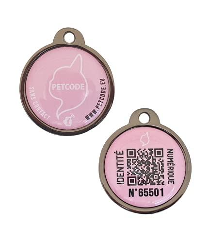 PETCODE – Medalla de identificación modelo JOYCE ROSA 25 mm – Pequeño perro – Medalla conectada para collar perro.