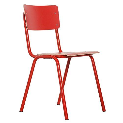 Zuiver Roter Stuhl Skole Boho - Hohe Widerstandsfähigkeit, Leicht kombinierbar | - Feuerrot (L43 x H83 x P47 cm)