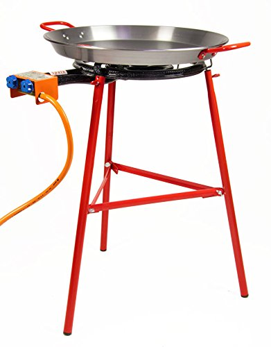 PAELLA de cuisine Kit–55cm Garcima Poêle à paella en acier poli–400mm + Brûleur à gaz–Valence de Paella