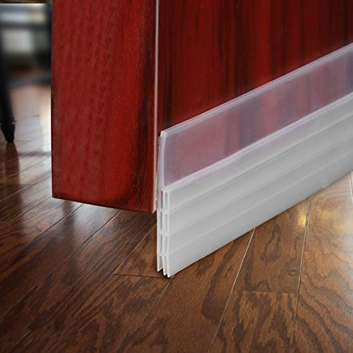 BAINING Door Draft Stopper Sweep, Silicone Door Seal Strip, Under Door Noise Blocker, with 3M VHB Adhesive Backing, 2' W x 39' L, Transparent 2 Pack
