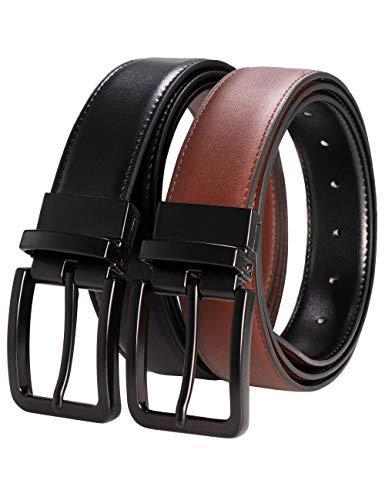 RBOCOTT Cinturones de Cuero Reversibles para Hombres, Cinturón de Cuero para Hombres, Cinturón Negro, Cinturón Marrón, Cinturón con Hebilla Metálica Negra(100CM)