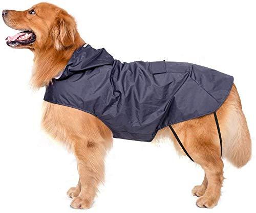 Bwiv Hunde Regenmantel Wasserdicht Hundemantel Groß Gefüttert Ultraleichte Atmungsaktive Hundejacke Reflexstreifen Regenjacke Hunde Mit Kapuze 3XL-6XL Blau 3XL
