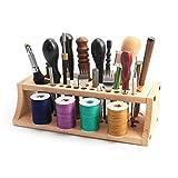 Wooden Leathercraft Tools Rack, Spool Thread Stand Leather Craft Tools DIY Storage Rack Holder Organizer, Punching Tools Holder Organizer Stand (255x110x72mm)