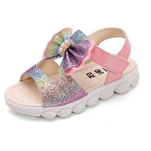 Hausschuhe Kinder Sommer Kinder Kleinkind Kinder Baby Mädchen Bling Bogen Prinzessin Hohl Sandalen Schuhe Trecking Sandalen Sandalen Pink-Pwtchenty