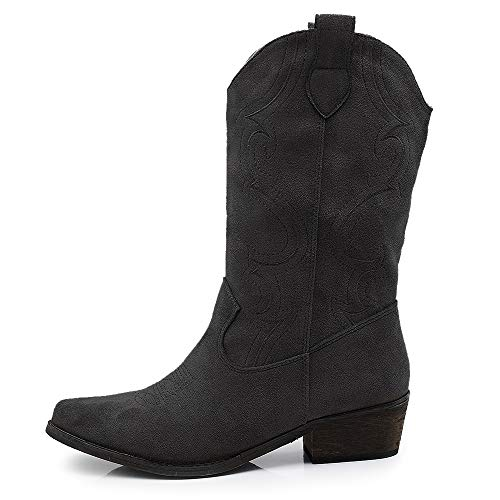 IF Fashion Scarpe Stivali Stivaletti alla Caviglia Camperos Texani Primaverili Estivi A Punta da Donna 0619 Nero N.41