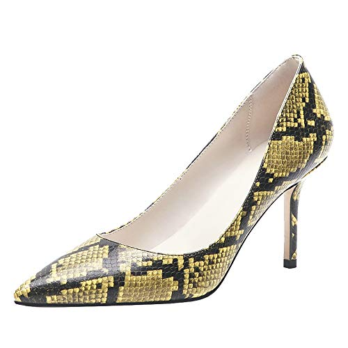 Lydee Damen Elegant Pumps Stiletto Schuhe mit Absatz Slip on Office Dress Shoes Animal Print Yellow-Snake Gr 35