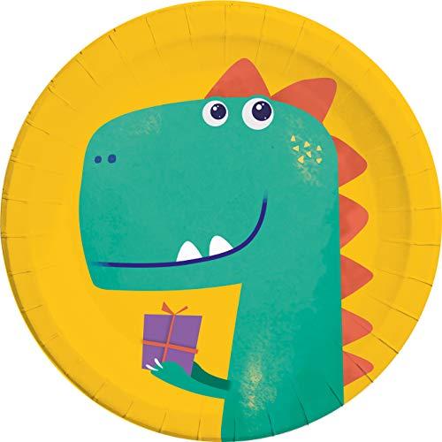Procos 90610 - Teller, Dino Roar, 23cm, 8 Stück, kompostierbar, Geschirr, Geburtstag, Mottoparty