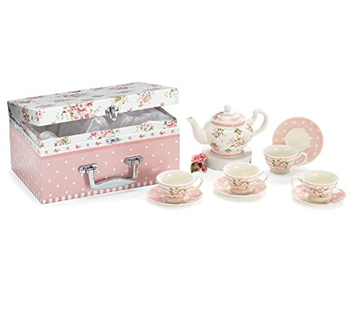 Child's Tea Set Porcelain Dainty Pink Roses, Polka Dot Saucers in Satin Lined Carry Case