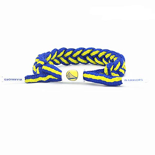 Lorh's store Fan della Squadra di Pallacanestro NBA Bracciale Braccialetto Regolabile Lacci delle Mani Tessitura a Mano 2 Pezzi (Golden State Warriors)