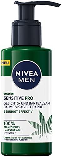NIVEA MEN Sensitive Pro Gesichts- und Bartbalsam (150 ml), feuchtigkeitsspendende Creme mit Hanfsamenöl & Vitamin E, beruhigender, leichter Balsam für Bartträger