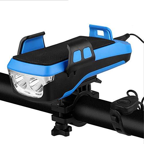 USB Solar recargable Luz de bicicleta 5 en 1 Multifunción Bicicleta Luz completamente impermeable LED Luz Frontal Fácil de instalar para la carretera, Montaña, Bicicletas de cercanías,Azul,one size