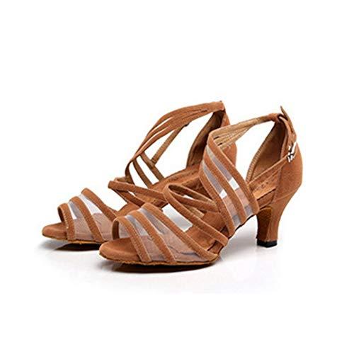 Zapatos de Baile Latino para Mujer Zapatos de Corte Transpirable con Punta Abierta Zapatos de tacón con Tiras Zapatos de Verano con Espalda Abierta Zapatos de tacón Fino Tacones Altos