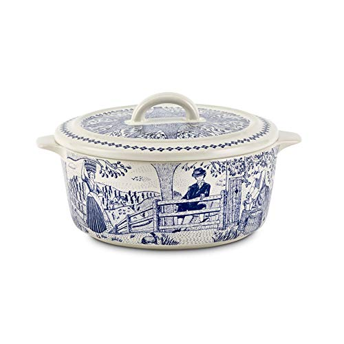 The Fine Cheese Co. Cheese Baker Baking Dish for Cheese with Handles   Brie Baker & Baked Camembert   Decorative Ceramic Dish   Traditional Blue and White 19th Century Illustration