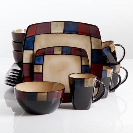 Gibson Home Soho Lounge Square Stoneware 16-piece Dinnerware Set - Beige Sand
