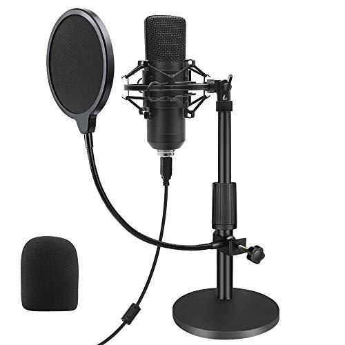 USB Mikrofon, Professionelle Kondensator Mikrofon 192KHZ / 24Bit Studio Cardioid-Kondensatormikrofon-Kit mit Soundkarte Ständer Shock Mount Pop-Filter für Skype, Rundfunk, Youtube,Podcasts uvm