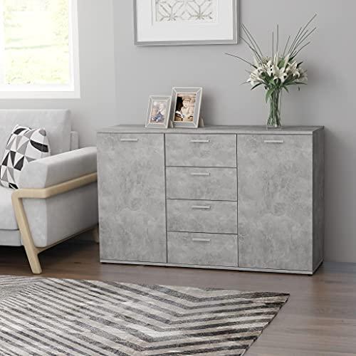 Mueble contenedor para salón, aparador con 4 cajones y 2 puertas, aparador para el comedor, aparador de conglomerado, 120 x 35,5 x 75 cm, gris cemento