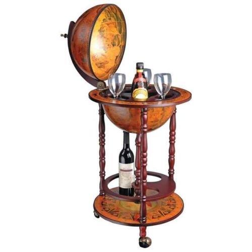 "Kassel 13"" Diameter Old World Map Globe Bar with Stand, Wine & Liquor Bottle Bar Stand Storage Nice Gift"