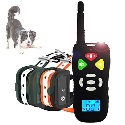 Collare Addestramento per Cani con 500m Telecomando, Collare Antiabbaio Cane Ricaricabile con Vibrazioni e Suono
