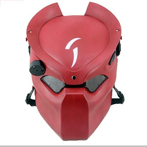 WLXW Taktische Maske, Airsoft Paintball Kopfschutz, Outdoor CS Game Maske, Belüftete Vollmaske und Infrarotlicht Für Maskerade-Rollenspiele,Red