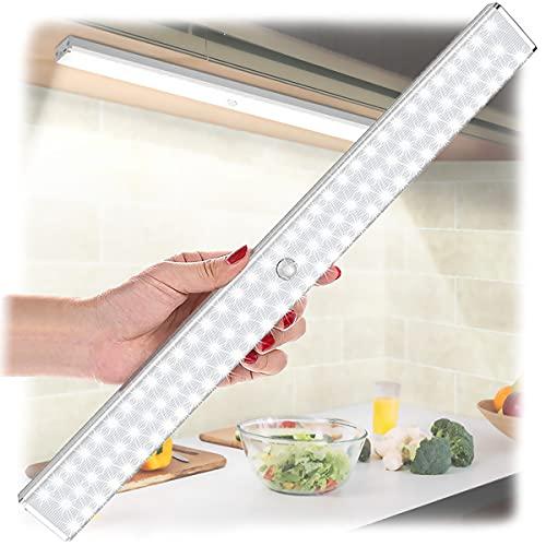 100 LED Sensor Licht, LOFTer LED Schrankbeleuchtung mit Bewegungsmelder und Einstellbar Sensorzeit, 260LM Wiederaufladbar Schrankleuchte 4 Modi Schranklicht für Küche, Kleiderschrank, Flur, Treppe