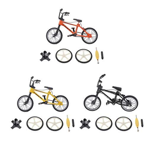 lahomia Juego de Juguete Modelo de Bicicleta con Dedos Naranja + Negro + Amarillo