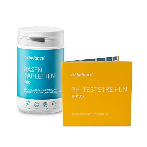 tri.balance Basentabletten Pro 225 Stück - 1er Pack inkl. 55 pH-Teststreifen - E-Book Entsäuerungskur I Vorteilspaket zum Säure-Basen-Ausgleich