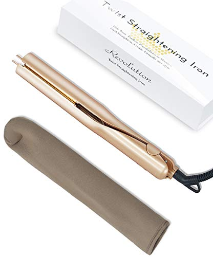 Hair Straightener 2-in-1 Twist Straightening Curling Iron 1inch Titanium-Plated 4 Temperature Settings 284-428°F 110-240V Case Gold
