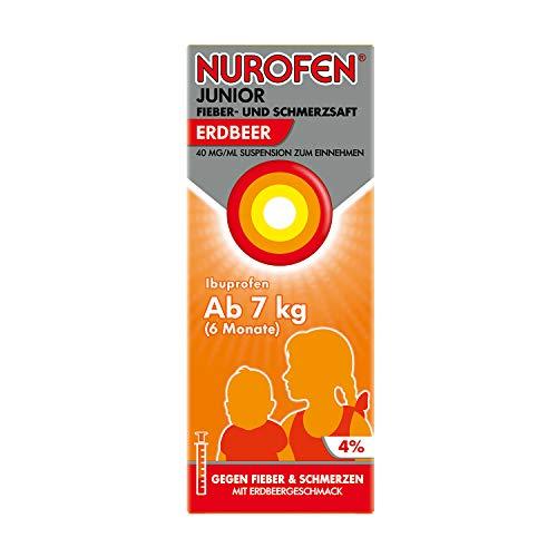 Nurofen Junior Fieber- und Schmerzsaft – Ibuprofen-Saft mit Erdbeer Geschmack bei Fieber und Schmerzen – Für Kinder – 40 mg/ml 150 ml