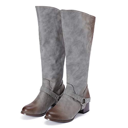 Yvelands Fashion Retro Zapatos de tacón bajo para Mujer Hebilla de cinturón Remaches Botas Altas Antideslizantes(Gris,37