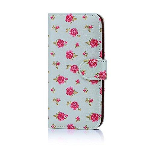 32nd Floreale Series - Custodia a Portafoglio in Pelle PU per Huawe P10, Case Realizzato in Pelle Sintetica con Diversi Comparti e Chiusura Magnetica - Vintage Rosa Mint