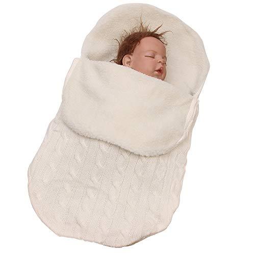 YEKEYI Unisex Baby Schlafsack für Neugeborene Baby Wickeldecke Schlafsack Kinderwagen Wickeltuch für 0-12 Monate Baby, weiß, Einheitsgröße