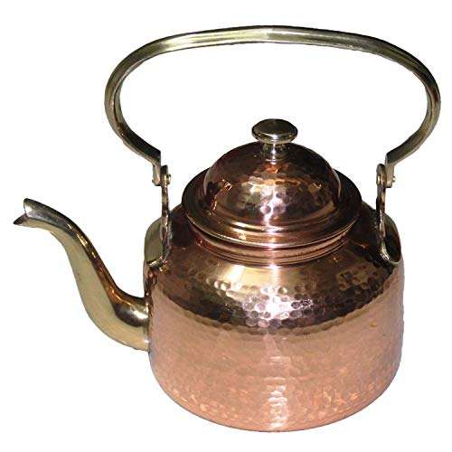 Hammered Tea Kettle Classic Espresso Coffee Pouring Pot for Home Kitchen, Hotel, Restaurant and Office, Capacity 20 Ounce Approx. (Copper)