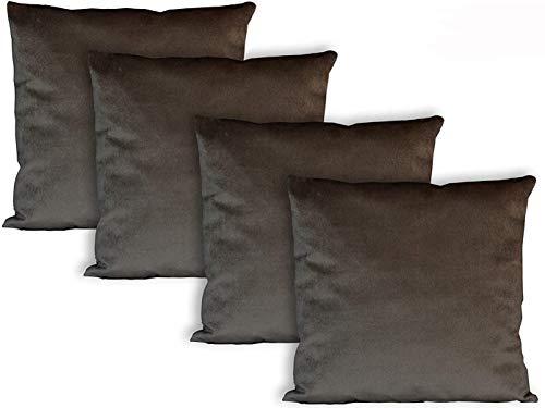 Milanino Dekokissen 45x45 mit Füllung und Bezug | 4 Stück Couchkissen Sofakissen Set | samtweiche Zierkissen mit Reißverschluss | quadratische Deko Kissen für Wohnzimmer- Sofa & Couch (Braun)
