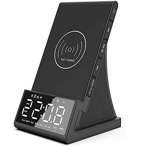 Cargador Inalámbrico Rápido Bocina Bluetooth Despertador,Pantalla LED de 3,2', Carga Rápida de 7,5W/10W, 2 Puertos USB, Alarma Doble, Radio, Conexión Bluetooth
