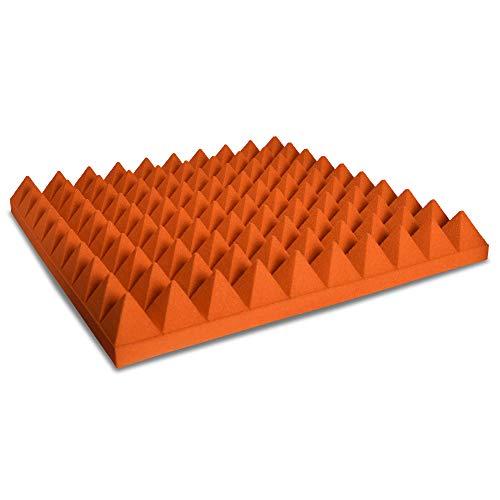 Pannello Fonoassorbente Piramidale 6cm Verniciato Arancio puro - 100x100cm