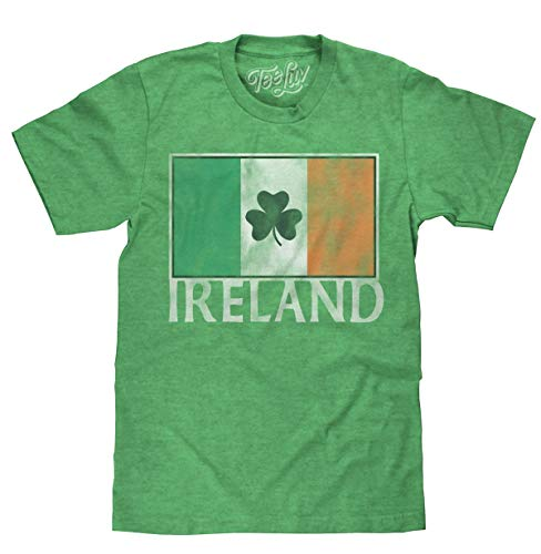 Tee Luv Ireland Shamrock T-Shirt - Irish Flag Shirt (Green) (2XL)