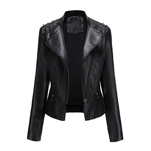 Kaiyei Chaquetas de PU Cuero Sintetico Mujer Slim Fit Primavera Otoño Fina Cuello Alto Manga Larga Elegante Jacket Cortas Cazadora Biker con Cremalleras Negro XL