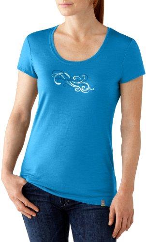 Smartwool Scroll Script T-Shirt Manches Courtes pour Femme Bleu Bleu XL