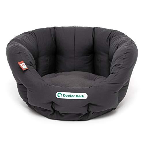 Doctor Bark Cesta redonda para perros para perros pequeños / cachorros, cama con suave cojín reversible, ortopédico, lavable hasta 95 °C (S – 40 x 35 cm, gris)