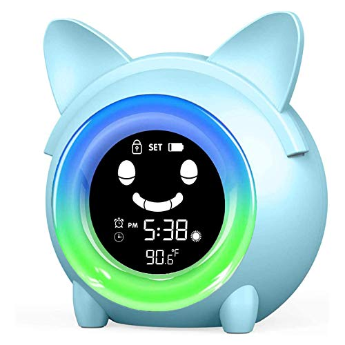 Kinder Lichtwecker, Wake Up Licht Wecker, Wecker für Kinder/Kinder Schlaftrainer/Kinder Wake Up Light/Sleep Sound Maschine/Buntes Nachtlicht/Indoor Thermometer/Nap-Timer (Katze)