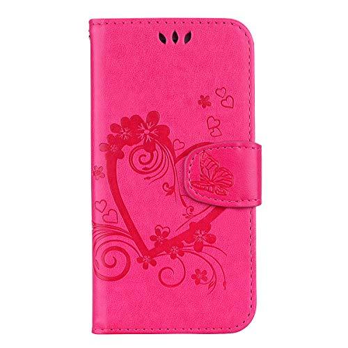 Tosim Galaxy A71 Hülle Klappbar Leder, Brieftasche Handyhülle Klapphülle mit Kartenhalter Stossfest Lederhülle für Samsung Galaxy A71 - TORXZ020206 Rosa Rot