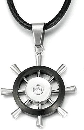 MNMXW Clásico de Moda de Moda Encanto Salvaje Collar Popular Collar Colgante de Acero Inoxidable para Hombres Collar de Fiesta Salvaje con timón de Barco