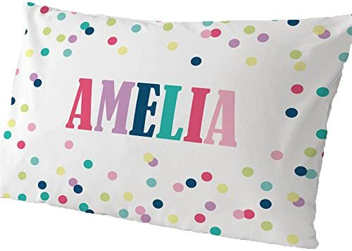 GiftsForYouNow Polka Dots Personalized Pillowcase Girl product image